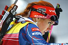 Gabriela Soukalova of Czech competes during the women's 10 km pursuit at the IBU World Championships Biathlon at Khanty-Mansiysk, 2759 km north-east of Moscow, Russia, Saturday, March 19, 2016. (AP Photo/Sergei Grits)