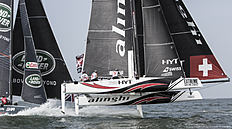 MUSCAT, OMAN — MARCH 20: Alinghi Extreme Sailing Team skippered by Ernesto Bertarelli (SUI) with tactician Nicolas Charbonnier (FRA). Mainsail trimmer Arnaud Psarofaghis (SUI). Headsail trimmer Nils Frei (SUI) and bowman Yves Detrey (SUI) during The Extreme Sailing Series 2016 March 20, 2016 in Muscat, Oman.