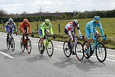 (From L) Belgium's Jonas Rickaert of team Topsport Vlaanderen — Baloise, Czech Republic's Josef Cerny of CCC Sprandi Polkowice, Russia's Pavel Brutt of Tinkoff, Switzerland's Simon Pellaud of IAM Cycling and Netherlands' Lieuwe Westra of Astana Pro Team ride in a breakaway during the 78th edition of the Gent-Wevelgem one day cycling race, 242,8 km from Deinze to Wevelgem, on March 27, 2016. / AFP / Belga / DIRK WAEM / Belgium OUT