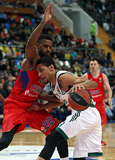 MOSCOW, RUSSIA — APRIL 01: Olivier Hanlan, #21 of Zalgiris Kaunas competes with Cory Higgins, #22 of CSKA Moscow in action during the 2015-2016 Turkish Airlines Euroleague Basketball Top 16 Round 13 game between CSKA Moscow v Zalgiris Kaunas at Megasport Arena on April 1, 2016 in Moscow, Russia.