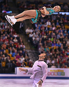 BOSTON — APRIL 1: Tatiana Volosozhar and Maxim Trankov from Russia perform during the Pair Short Program competition of the World Figure Skating Championships at TD Garden in Boston on April 1, 2016.