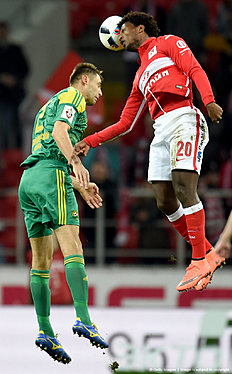 MOSCOW, RUSSIA � APRIL 10: Ze Luis (R) of FC Spartak Moscow is challenged by Igor Armash of FC Kuban Krasnodar during the Russian Premier League match between FC Spartak Moscow v FC Kuban Krasnodar at Otkrytie Arena Stadium on April 10, 2016 in Moscow, Russia.