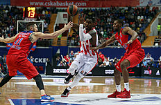 MOSCOW, RUSSIA — APRIL 14: Quincy Miller, #30 of Crvena Zvezda Telekom Belgrade competes with Nikita Kurbanov, 41 and Demetris Nichols, #8 of CSKA Moscow in action during the 2015-2016 Turkish Airlines Euroleague Basketball Playoffs Game 2 between CSKA Moscow v Crvena Zvezda Telekom Belgrade on April 14, 2016 in Moscow, Russia.