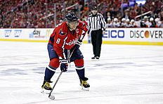 Washington Capitals left wing Alex Ovechkin (8), from Russia, waits for a faceoff during the second period of Game 2 in the first round of the NHL Stanley Cup hockey playoffs against the Philadelphia Flyers, Saturday, April 16, 2016, in Washington. (AP Photo/Alex Brandon)