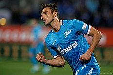 ST. PETERSBURG, RUSSIA � APRIL 16: Mauricio of FC Zenit St. Petersburg celebrates his goal during the Russian Football League match between FC Zenit St. Petersburg and FC Spartak Moscow at Petrovsky stadium on April 16, 2016 in St. Peterburg, Russia.