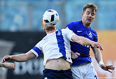 KHIMKI, RUSSIA � APRIL 17: Tomas Hubocan (R) of FC Dinamo Moscow is challenged by Sergei Kornilenko of FC Krylya Sovetov Samara during the Russian Premier League match between FC Dinamo Moscow and FC Krylya Sovetov Samara on April 17, 2016 at Arena Khimki stadium in Moscow, Russia.