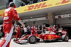 Formula One — Chinese F1 Grand Prix — Shanghai, China — 17/4/16 — Ferrari driver Kimi Raikkonen of Finland pulls out of his team's garage before the Chinese Grand Prix. REUTERS/Pool