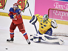 Ice Hockey � Sweden v Russia � Euro Hockey Tour � Sodertalje, Sweden � 21/4/16. Russia's Evgeny Dadonov (L) and Swedish goalkeeper Jacob Markstrom during the Euro Hockey Tour match. TT News Agency/Claudio Bresciani/via REUTERSATTENTION EDITORS � THIS IMAGE WAS PROVIDED BY A THIRD PARTY. FOR EDITORIAL USE ONLY. SWEDEN OUT. NO COMMERCIAL OR EDITORIAL SALES IN SWEDEN. NO COMMERCIAL SALES.