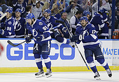 Tampa Bay Lightning right wing Nikita Kucherov (86), of Russia, and center Alex Killorn (17) celebrate their 1-0 win over the Detroit Red Wings during Game 5 in a first-round NHL hockey Stanley Cup playoff series Thursday, April 21, 2016, in Tampa, Fla. (AP Photo/Chris O'Meara)