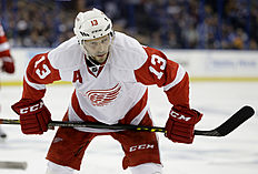 Detroit Red Wings center Pavel Datsyuk, of Russia, during the third period of Game 5 in a first-round NHL hockey Stanley Cup playoff series against the Tampa Bay Lightning Thursday, April 21, 2016, in Tampa, Fla. (AP Photo/Chris O'Meara)
