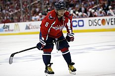 Washington Capitals left wing Alex Ovechkin (8), from Russia, pauses on the ice during the second period of Game 5 in the first round of the NHL Stanley Cup hockey playoffs against the Philadelphia Flyers, Friday, April 22, 2016, in Washington. (AP Photo/Alex Brandon)