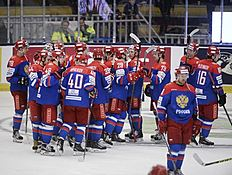 Ice Hockey — Sweden v Russia — Euro Hockey Tour — ABB Arena, Vasteras, Sweden — 23/4/16. Russia's players celebrate their victory. Fredrik Sandberg/TT News Agency/via REUTERS ATTENTION EDITORS — THIS IMAGE WAS PROVIDED BY A THIRD PARTY. FOR EDITORIAL USE ONLY. SWEDEN OUT. NO COMMERCIAL OR EDITORIAL SALES IN SWEDEN. NO COMMERCIAL SALES.
