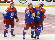 Ice Hockey — Sweden v Russia — Euro Hockey Tour — ABB Arena, Vasteras, Sweden — 23/4/16. Russia's Daniil Apalkov celebrates his goal with teammates Yaroslav Dyblenko and Egor Averin. Fredrik Sandberg/TT News Agency/via REUTERS ATTENTION EDITORS — THIS IMAGE WAS PROVIDED BY A THIRD PARTY. FOR EDITORIAL USE ONLY. SWEDEN OUT. NO COMMERCIAL OR EDITORIAL SALES IN SWEDEN. NO COMMERCIAL SALES.