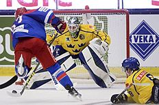 Ice Hockey — Sweden v Russia — Euro Hockey Tour — ABB Arena, Vasteras, Sweden — 23/4/16. Russia's Vadim Shipachev scores a goal past Sweden's goalie Jacob Markstrom. Fredrik Sandberg/TT News Agency/via REUTERS ATTENTION EDITORS — THIS IMAGE WAS PROVIDED BY A THIRD PARTY. FOR EDITORIAL USE ONLY. SWEDEN OUT. NO COMMERCIAL OR EDITORIAL SALES IN SWEDEN. NO COMMERCIAL SALES.