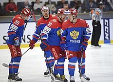 Ice Hockey — Sweden v Russia — Euro Hockey Tour — ABB Arena, Vasteras, Sweden — 23/4/16. Russia's players celebrate a goal. Fredrik Sandberg/TT News Agency/via REUTERS ATTENTION EDITORS — THIS IMAGE WAS PROVIDED BY A THIRD PARTY. FOR EDITORIAL USE ONLY. SWEDEN OUT. NO COMMERCIAL OR EDITORIAL SALES IN SWEDEN. NO COMMERCIAL SALES.
