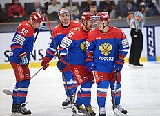 STO802. Vaesteras (Sweden), 23/04/2016.- Russia's players from left Stepan Sannikov, Vladimir Galuzin and Maxim Chudinov celebrate Stepan Sannikov's 1-0 goal during the Euro Hockey Tour match ice hockey match Sweden vs Russia at the ABB Arena in Vasteras, Sweden, April 23, 2016. (Suecia, Rusia) EFE/EPA/Fredrik Sandberg SWEDEN OUT