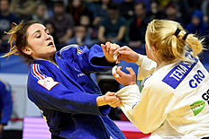 France's Lola Benarroche (L) competes with Croatia's Tena Sikic during the bronze medal match at the women's team competition at the European Judo Championships in Kazan on April 24, 2016. / AFP / Vasily Maximov