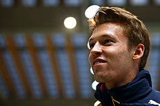 SOCHI, RUSSIA — APRIL 27: Daniil Kvyat of Russia and Red Bull Racing speaks with members of the media during previews to the Formula One Grand Prix of Russia at Sanki Sliding Centre on April 27, 2016 in Sochi, Russia.