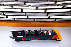SOCHI, RUSSIA — APRIL 27: Daniil Kvyat of Russia and Red Bull Racing's personal trainer Pyry Salmela and Simon Lazenby of Sky Sports ride in a bobsleigh during previews to the Formula One Grand Prix of Russia at Sanki Sliding Centre on April 27, 2016 in Sochi, Russia.