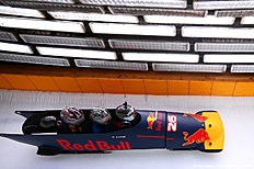 SOCHI, RUSSIA � APRIL 27: Daniil Kvyat of Russia and Red Bull Racing's personal trainer Pyry Salmela and Simon Lazenby of Sky Sports ride in a bobsleigh during previews to the Formula One Grand Prix of Russia at Sanki Sliding Centre on April 27, 2016 in Sochi, Russia.