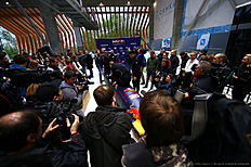 SOCHI, RUSSIA — APRIL 27: Daniil Kvyat of Russia and Red Bull Racing speaks with members of the Russian national bobsleigh team during previews to the Formula One Grand Prix of Russia at Sanki Sliding Centre on April 27, 2016 in Sochi, Russia.