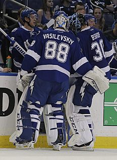 Tampa Bay Lightning goalie Andrei Vasilevskiy (88), of Russia, replaces goalie Ben Bishop during the second period of Game 1 of the NHL hockey Stanley Cup Eastern Conference semifinals against the New York Islanders.Wednesday, April 27, 2016, in Tampa, Fla. (AP Photo/Chris O'Meara)