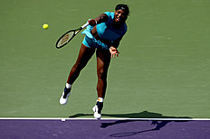 KEY BISCAYNE, FL � MARCH 28: Serena Williams serves to Svetlana Kuznetsova of Russia during the Miami Open presented by Itau at Crandon Park Tennis Center on March 28, 2016 in Key Biscayne, Florida. Matthew Stockman/Getty Images/AFPKEY BISCAYNE, FL � MARCH 28: Serena Williams serves to Svetlana Kuznetsova of Russia during the Miami Open presented by Itau at Crandon Park Tennis Center on March 28, 2016 in Key Biscayne, Florida. Matthew Stockman/Getty Images/AFP (AFP Photo/MATTHEW STOCKMAN)