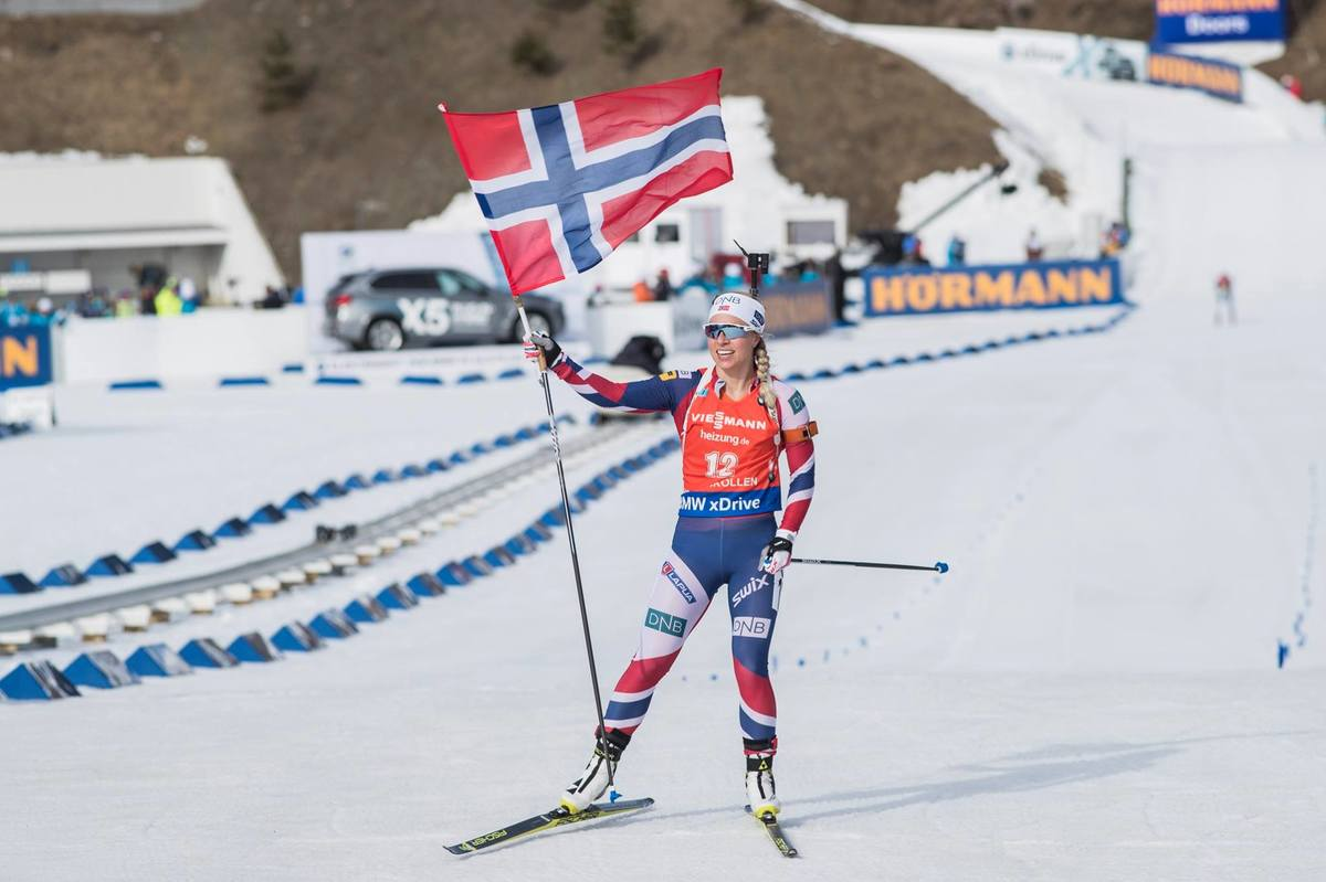 A win, a smile and the flag--nice ending for Tiril.