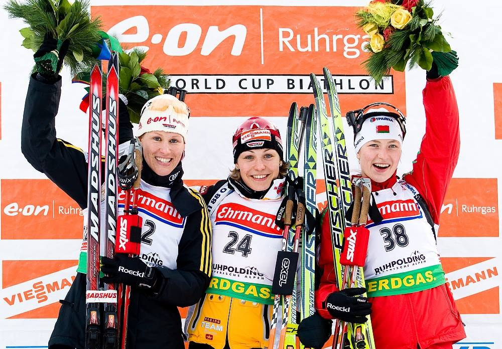 #ibutbt First podium for Darya Domracheva in the Ruhpolding sprint back in 2009. Do you recognize other ladies on the podium?