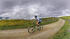 Clouds high in the Dolomites; Lukas Hofer on his mountain bike. «Mountain Bike is definitely my favorite; there are a lot more possibilities, riding in the forest compared to road cycling. My longest ride on the mountain bike was last year, about 150 km.