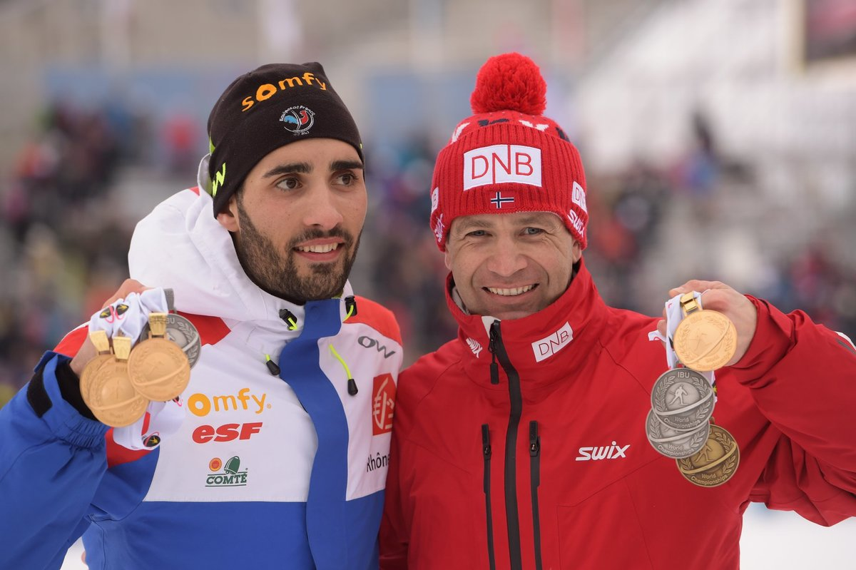 Reflecting on the retirement of Ole Einar Björndalen today, Martin Fourcade who has broken several Björndalen records commented, «It was a big surprise to day to hear about his retirement. As a kid, I kept his poster in my room for years. As a y