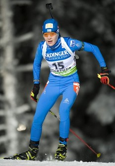 Finland's Kaisa Makarainen competes during the Women's Biathlon 15 km individual World Cup race in Oestersund on December 1, 2010. Makarainen took the 11th place and Anna-Carin Zidek won the race.