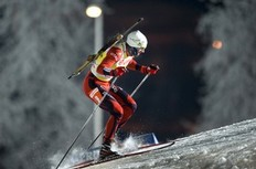 Norway's Emil Hegle Svendsen competes in the men's Biathlon 20km individual race on December 2, 2010 in Oestersund. He won the event.