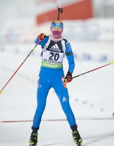 Kaisa Makarainen of Finland reacts as she crosses the finish line to win first place in the women's Biathlon 7.5 km sprint race at the World Cup event on December 3, 2010 in Oestersund.
