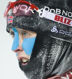 Norway's Fanny Welle-Strand Horn reacts after finishing the women's World Cup Biathlon 7.5 km sprint race in Oestersund on December 3, 2010.