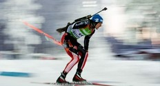 Michael Greis of Germany competes on his way to the 9th place during the men's Biathlon 10 km sprint race on December 4, 2010 in Oestersund.