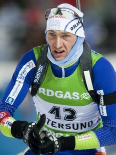 Jakov Fak of Slovenia competes on the way to take the 4th place in the men's Biathlon 10 km sprint race on December 4, 2010 in Oestersund, Sweden. Emil Hegle Svendsen of Norway won the race.