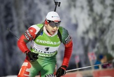 Evgeny Abramenko of Belarus skis on his way to the 27th place during the men's Biathlon 10 km sprint race on December 4, 2010 in Oestersund, Sweden.