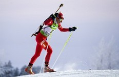 Krasimir Anev of Bulgaria skis on his way to the 24th place during the men's Biathlon 10 km sprint race on December 4, 2010 in Oestersund, Sweden.