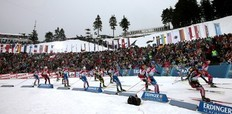 Athletes compete in the men's 15 km mass start competition at the Biathlon World Cup in the eastern German ski resort of Oberhof January 9, 2011. Norway's Tarjei Boe won the competition, his team mate Emil Hegle Svendsen placed second and Russia's Ivan Tcherezov placed third.