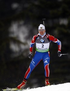 Russia's Ivan Tcherezov competes during the men's 10 km sprint race at the biathlon World Cup in Ruhpolding January 14, 2011.