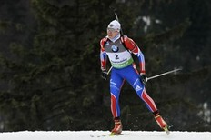 RUHPOLDING, GERMANY — JANUARY 14: Ivan Tcherezov of Russia takes 3rd place during the IBU World Cup Biathlon Men's 10 km Sprint on January 14, 2011 in Ruhpolding, Germany.