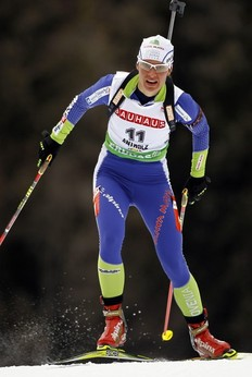 Slovenia's Teja Gregorin competes during the women's 7.5 kilometres sprint race at the Biathlon World Cup at a ski resort northeast of Italy in Anterselva January 21, 2011. Gregorin took 6th place as Norway's Tora Berger won the race ahead of Slovakia's Anastasiya Kuzmina and Olga Zaitseva of Russia.