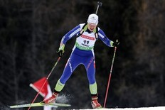 Slovenia's Teja Gregorin competes in the Biathlon World Cup Women's 7,5 km sprint event in Anterselva on January 21, 2011.