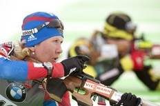 Russia's Natalia Guseva competes during the IBU World Cup Biathlon Women's 7.5km Sprint February 4, 2011 in Presque Isle, Maine.