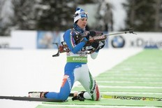 Italy's Michela Ponza competes during the IBU World Cup Biathlon Women's 7.5km Sprint February 4, 2011 in Presque Isle, Maine.