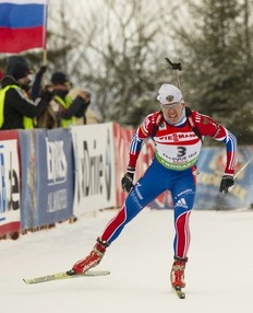 Russia's Ivan Tcherezov finishes in second in the IBU World Cup Biathlon Men's 12.5 km Pursuit on February 6, 2011 in Presque Isle, Maine.