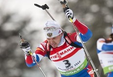 Russia's Ivan Tcherezov leaves the shooting area during the IBU World Cup Biathlon Men's 12.5 km Pursuit on February 6, 2011 in Presque Isle, Maine. Tcherezov finished in second place.