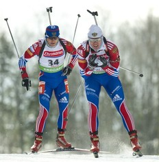 Russia's Ivan Tcherezov (R) and Maxim Maksimov race in the IBU World Cup Biathlon Men's 10 km Sprint February 10, 2011 in Fort Kent, Maine. Tcherezov finished in seventh place in the event.