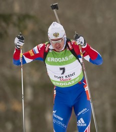 Russia's Ivan Tcherezov skis during the IBU World Cup Biathlon Men's 12.5 KM Pursuit February 12, 2011 in Fort Kent, Maine. Tcherezov finished the race in eighth position.